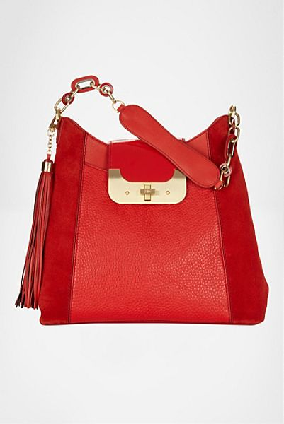 Diane Von Furstenberg Harper Hobo Bag in Red (red robin)