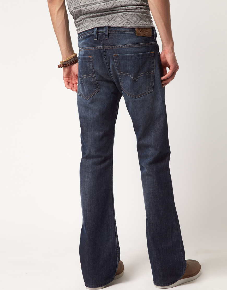 Diesel Zathan 801z Regular Bootcut Jeans in Blue for Men | Lyst