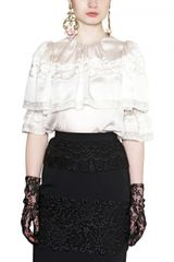 Dolce & Gabbana Lace with Satin Inserts Shirt - Lyst