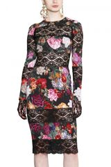 Dolce & Gabbana Printed Stretch Charmeuse Dress - Lyst