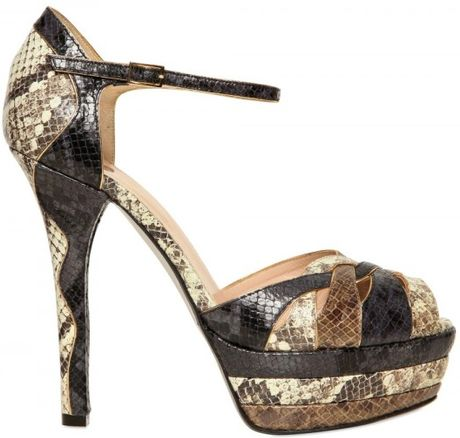 Ernesto Esposito 130mm Python Print Sandals in Multicolor (multi)