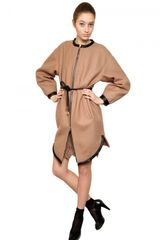 Francesco Scognamiglio Wool Cloth Coat with Leather Trim - Lyst