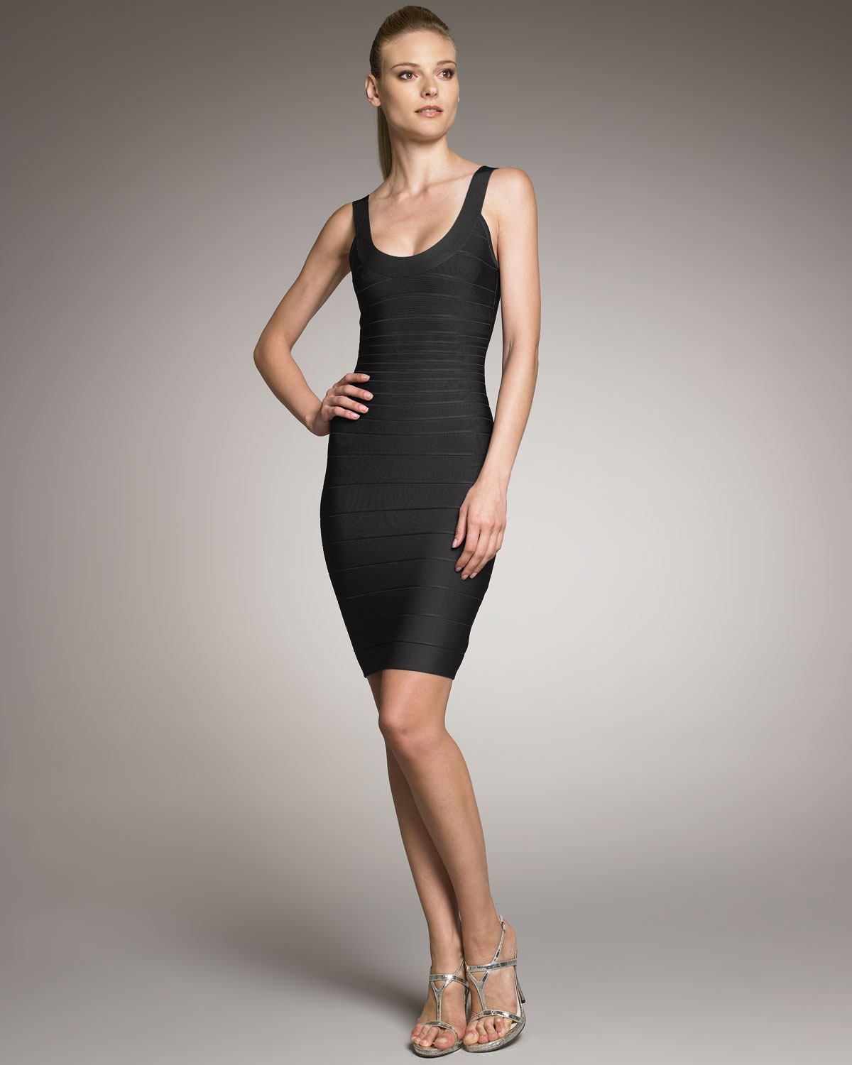 Black Herve Leger Strapless Bandage Dress