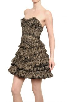 Jay Ahr Laminated Ruffled Silk Tulle Lace Dress - Lyst