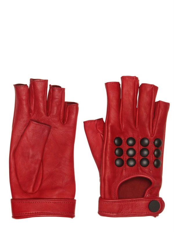 Lyst Karl Lagerfeld Studded Leather Fingerless Gloves In Red