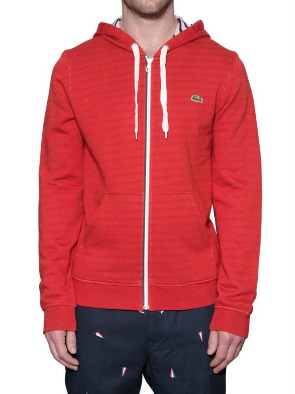 Lacoste Hooded Fleece Sweatshirt in Red for Men | Lyst