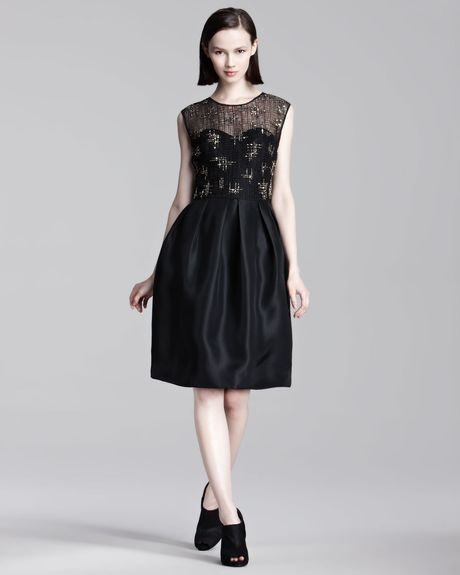 Lela Rose Lacetop Dress in Black - Lyst