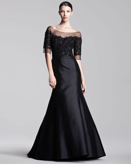 Lela Rose Tulletop Gown in Black - Lyst