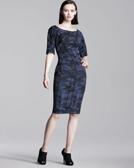 Lela Rose Weathered Print Stretch Dress in Blue (midnight) - Lyst
