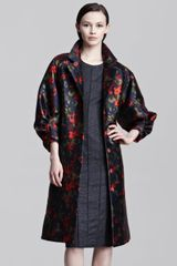 Lela Rose Hazed Floralprint Coat - Lyst
