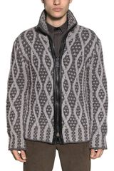 Les Hommes Zip Up Two Tone Knitted Wool Cardigan - Lyst