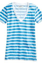 Madewell Striped Vneck Pocket Tee - Lyst