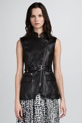 Rachel Zoe Nora Leather Zip Vest - Lyst