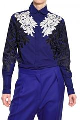 Stella McCartney Flower Silk Embroidery Cotton Shirt - Lyst