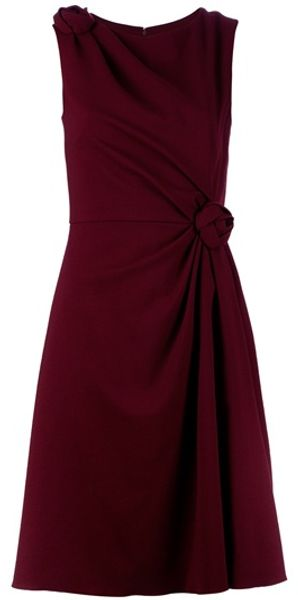 Valentino Rose Detail Dress in Red (rose) - Lyst