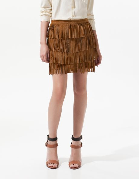 zara suede skirt with fringes in brown lyst