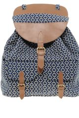 Asos Tile Print Rucksack with Leather Trim