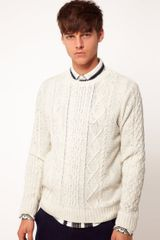 Asos  Cable Crew Neck Jumper - Lyst