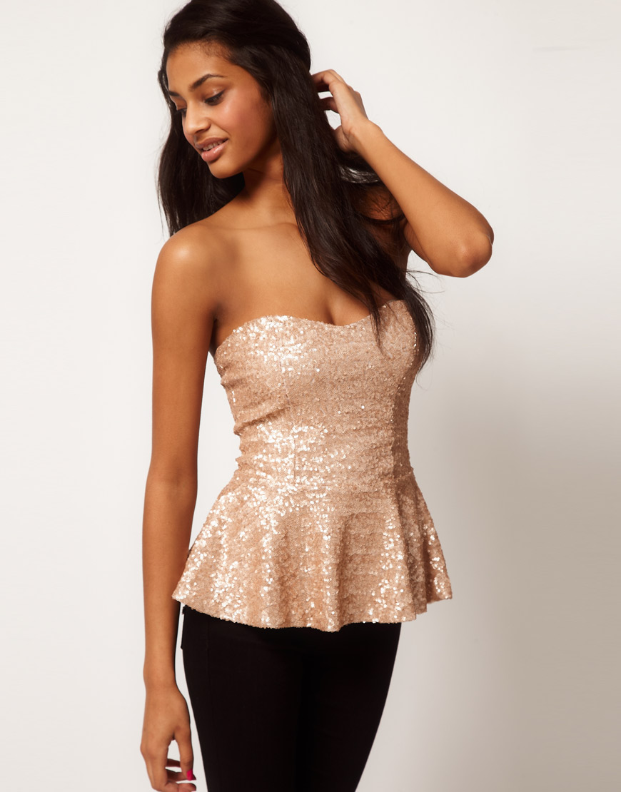 Asos collection Asos Bandeau Peplum Top in Baby Sequin in Natural ...