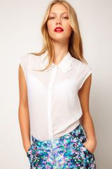 ASOS Collection Asos Blouse with Folded Collar - Lyst