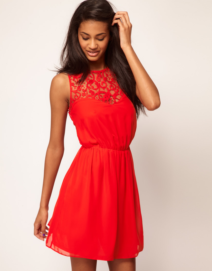Asos Skater Dress With Lace Back In Pink Peachblush Lyst