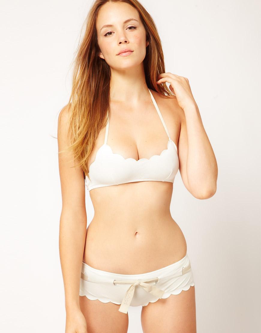 Chloé Chloe Gold Scallop Edge Bandeau Bikini in White