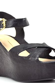 Dolce Vita Eileen Black Leather Wedge Sandal - Lyst
