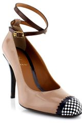 Fendi Patent Pump with Checkered Toe in Beige - Lyst