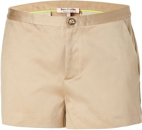 Juicy Couture Golden Khaki Sateen Short in Beige (khaki) - Lyst