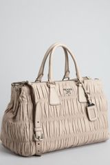 Prada  Gauffre Pleated Leather Crossbody Tote - Lyst
