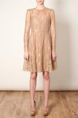 Valentino Lace Tea Dress in Black (gold) - Lyst