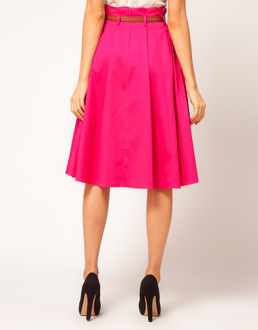Lyst Asos Collection Asos Belted Full Midi Skirt In Pink