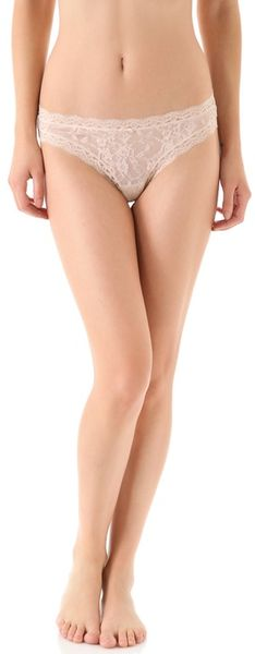 Dkny Signature Lace Table Thong in Beige (nude) - Lyst