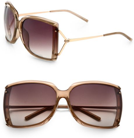 Gucci Square Plastic Sunglasses in Gold - Lyst