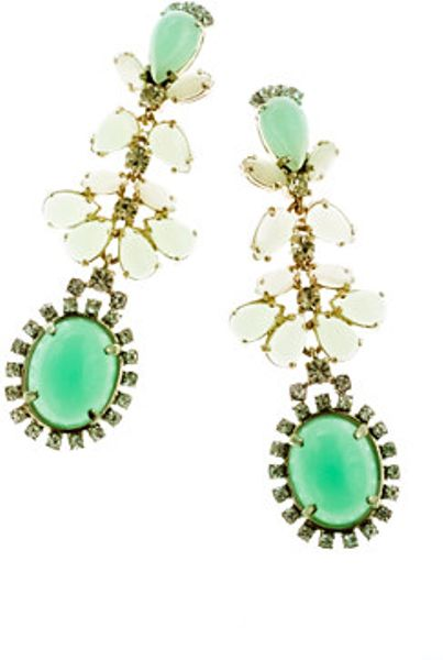 J.crew Cabochon Fan Earrings in Green (spearmint) - Lyst