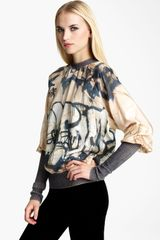 Jean Paul Gaultier Graffiti Print Silk Top - Lyst