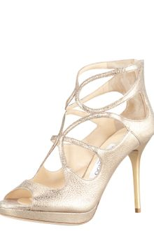 Jimmy Choo Latin Metallic Leather Sandal - Lyst