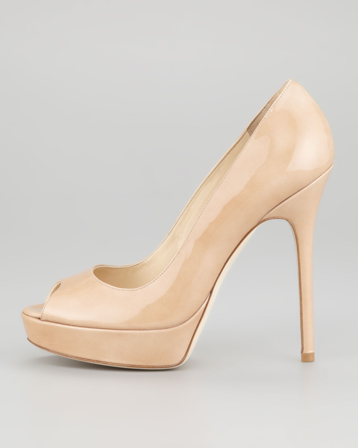 3fe35feaf12e Jimmy Choo Crown Peep Toe Pump Nude in Natural - Lyst
