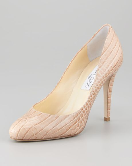 Jimmy Choo Vikki Crocodileembossed Pump in Beige (nude) - Lyst