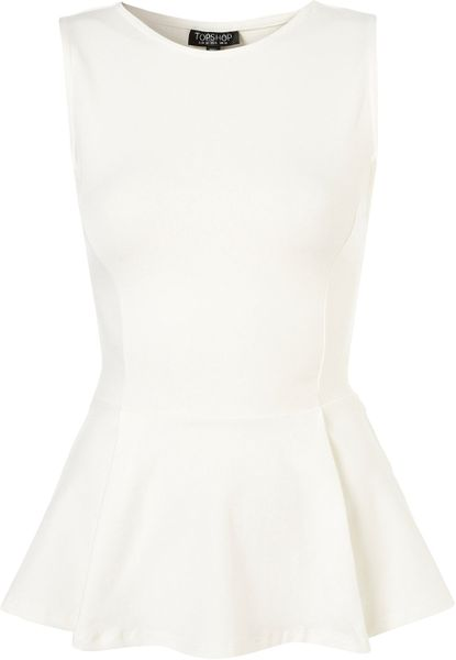 Topshop Basic Peplum Top in Beige (cream) - Lyst