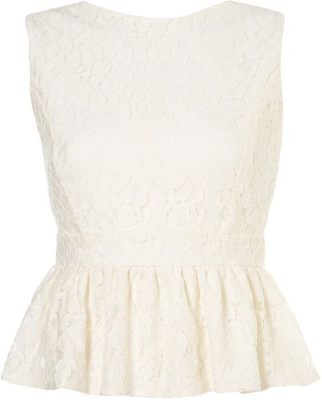 Topshop Lace Peplum Top By Rare in White (cream)