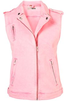 Topshop Oversized Sleeveless Biker Jacket - Lyst