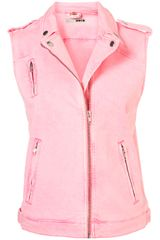 Topshop Oversized Sleeveless Biker Jacket
