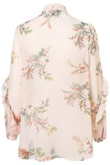 Topshop Willow Print Pussybow Blouse in Pink (light pink) - Lyst