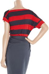 Vivienne Westwood Anglomania Drape Striped Jersey Top in Red - Lyst