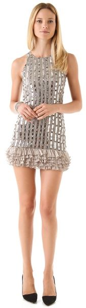 Alice + Olivia Alison Ruffle Beaded Tank Dress - Lyst