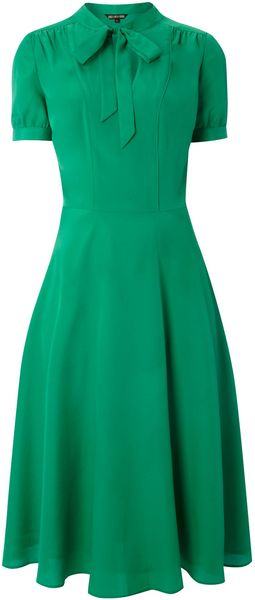 Biba Tie Neck Tea Dress - Lyst