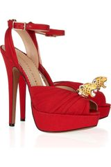 Charlotte Olympia Bruce Crepe Covered Leather Sandals - Lyst