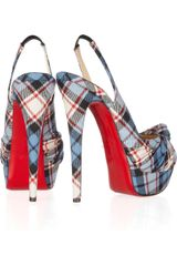 Christian Louboutin Jenny 150 Tartan Slingbacks in Blue (multicolored) - Lyst