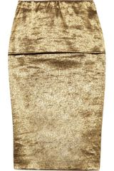 Donna Karan New York Metallic Foldover Stretch Skirt - Lyst